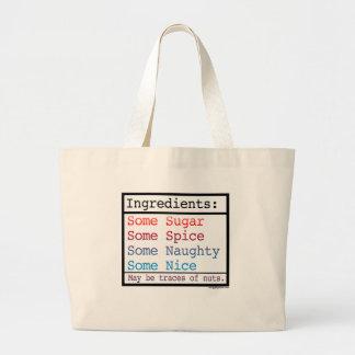 Funny Naughty and Nice Totebag Jumbo Tote Bag