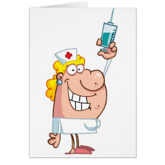 Funny naughty nurse cartoon personalized greeting card