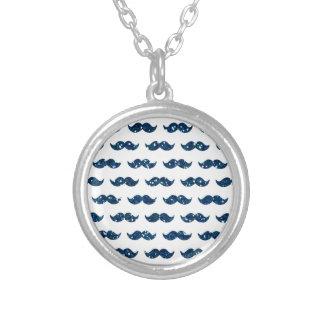 Funny Navy Blue Glitter Mustache Pattern Printed Pendant