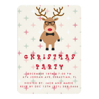 Funny Nerdy Reindeer Christmas Party Invitation