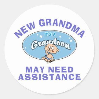 Funny New Grandma New Grandma Round Sticker