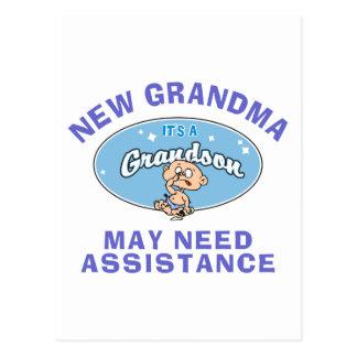 Funny New Grandma New Grandson T-Shirts Postcard