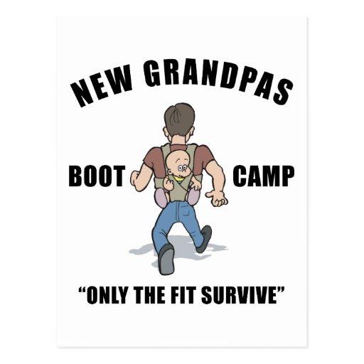 Funny New Grandpa Boot Camp Postcard