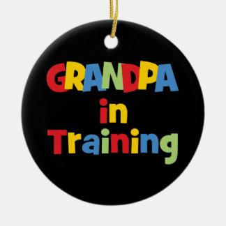 Funny New Grandpa Gift Round Ceramic Decoration