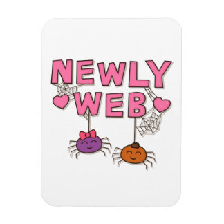 Funny Newly Wed or Web Spiders Pun Humor Rectangle Magnets
