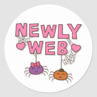 Funny Newly Wed or Web Spiders Pun Humor Round Sticker