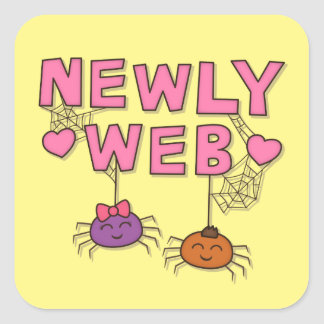 Funny Newly Wed or Web Spiders Pun Humor Square Sticker