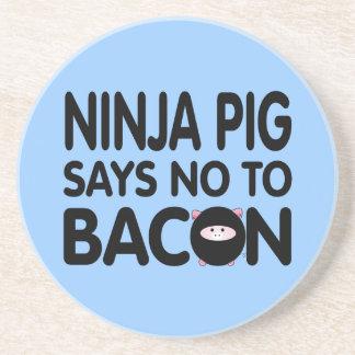 Funny Ninja Pig Says No to Bacon Coaster