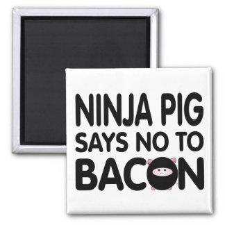 Funny Ninja Pig Says No to Bacon Magnet