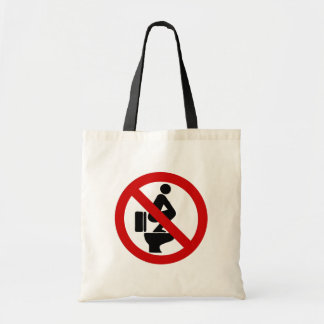Funny NO Feet on the Seat ⚠ Thai Sign ⚠ Budget Tote Bag