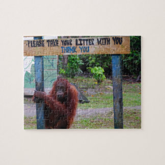 Funny No Litter Sign with Orangutan Jigsaw Puzzles