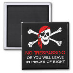 Funny No Trespassing Pirate Skull and Crossbones Refrigerator Magnets