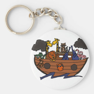Funny Noah's Ark Cartoon Basic Round Button Key Ring