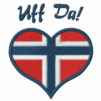 Funny Norwegian Uff Da with Heart  Flag of Norway Embroidered Ladies Polo