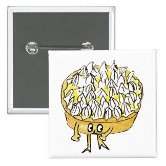 Funny novelty art lemon meringue pie badge