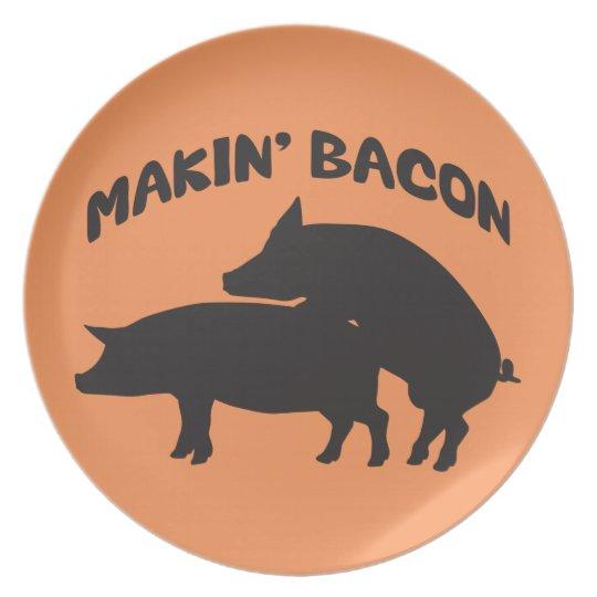 Funny novelty bacon plate
