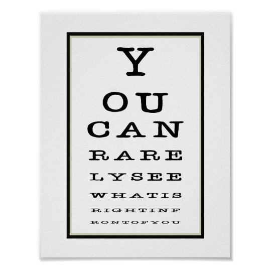 Funny Novelty Eye Test Chart Typography Poster