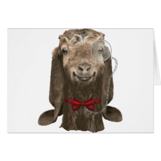 Funny Nubian Goat With Monocle Greeting Card