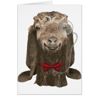 Funny Nubian Goat With Monocle Note Card