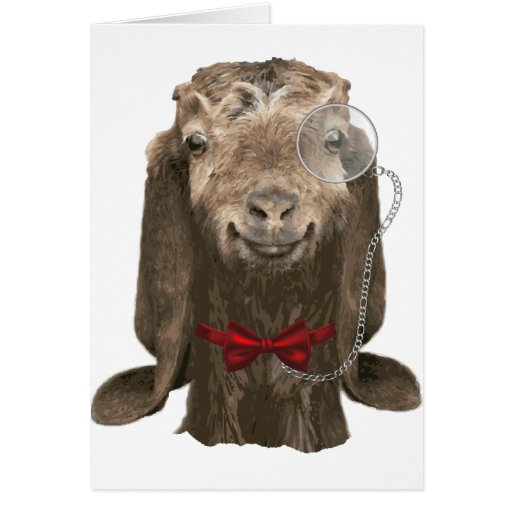 Funny Nubian Goat With Monocle Greeting Cards