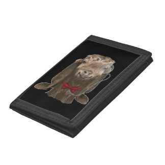 Funny Nubian Goat With Monocle Trifold Wallet