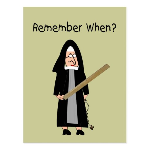 "Funny Nun Cards :Nuns Carried Rulers"" Postcards"