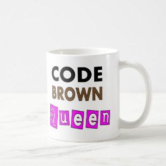 "Funny Nurse ""CODE BROWN QUEEN"" Gifts Basic White Mug"