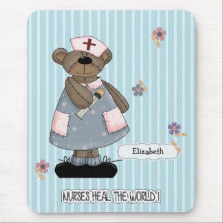 Funny Nurse Teddy Bear Design Mousepads