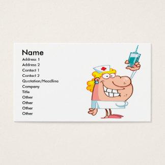 funny nurse with a syringe cartoon business card