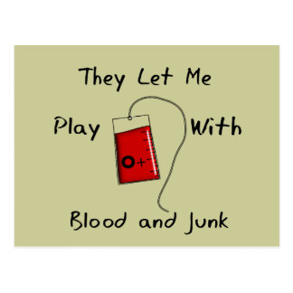 "Funny Nursing Student Gifts ""Blood and Junk"" Postcard"