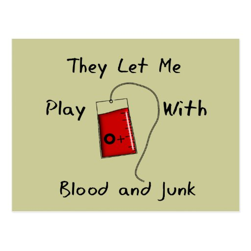 "Funny Nursing Student Gifts ""Blood and Junk"" Post Cards"