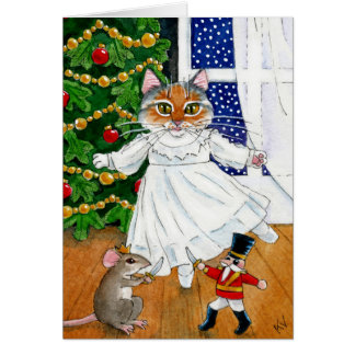Funny Nutcracker Cat Christmas Ballet card