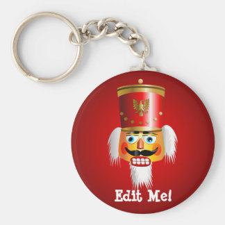 Funny Nutcracker Toy Soldier Basic Round Button Key Ring