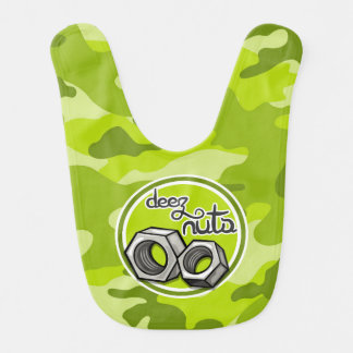Funny Nuts bright green camo camouflage Bibs