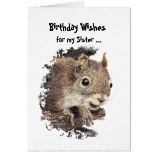 Funny, Nutty Sister Birthday Squirrel Card