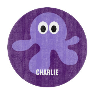 Funny Octopus custom monogram cutting board