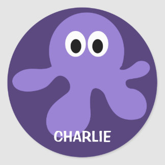 Funny Octopus custom name stickers