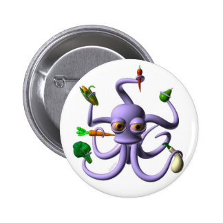 Funny octopus holding food items pins