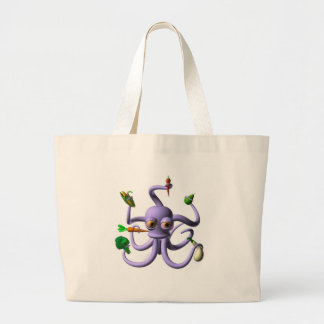 Funny octopus holding food items tote bag