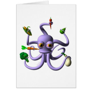 Funny octopus holding food items greeting cards