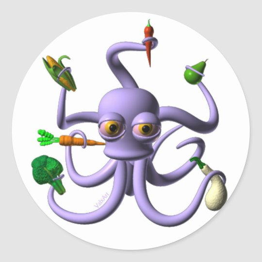 Funny octopus holding food items classic round sticker
