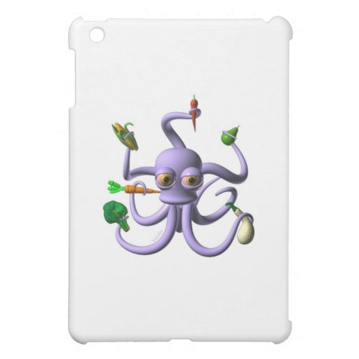 Funny octopus holding food items case for the iPad mini