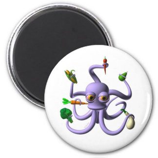 Funny octopus holding food items fridge magnet