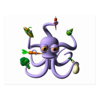 Funny octopus holding food items postcard