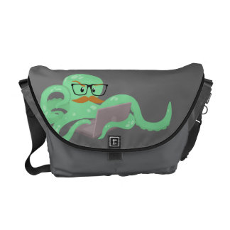 Funny Octopus with Mustache messenger bag