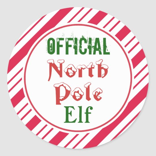 Funny Official North Pole Elf Christmas Stickers