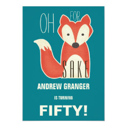 Funny 60th birthday cards invitations zazzle funny oh for fox sake birthday party card bookmarktalkfo Choice Image