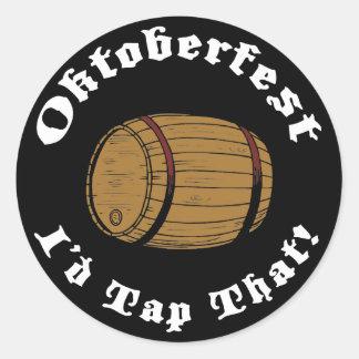 Funny Oktoberfest I'd Tap That Classic Round Sticker