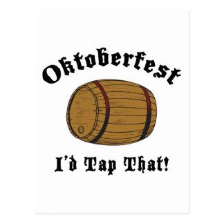 Funny Oktoberfest I'd Tap That Gift Postcard