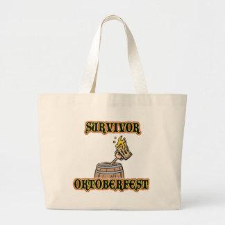 Funny Oktoberfest Survivor T-Shirts Jumbo Tote Bag